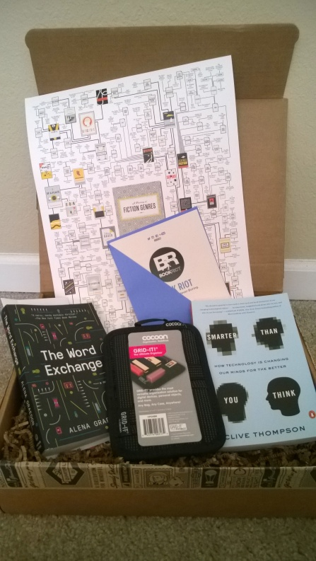 Box containing items from Book Riot Quarterly Box 7